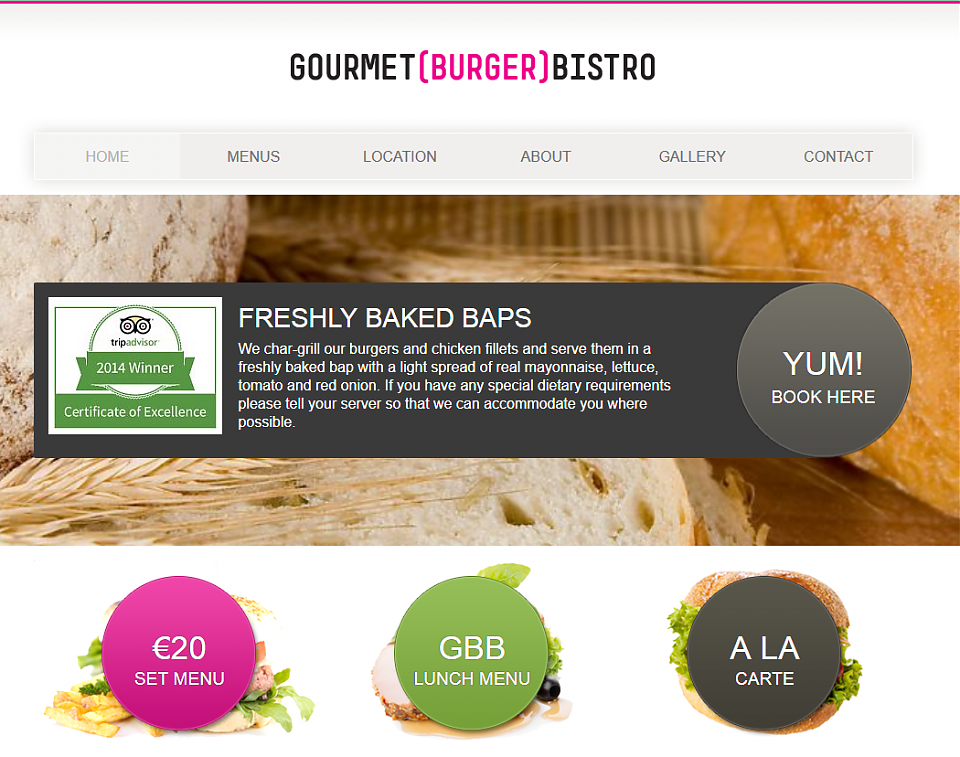 Gourmet Burger Bistro Web Site Design