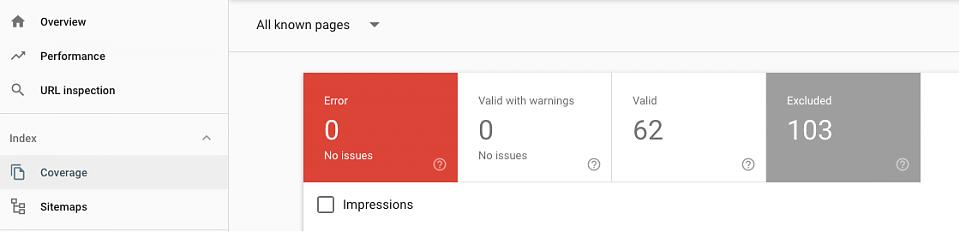 Google search console index coverage