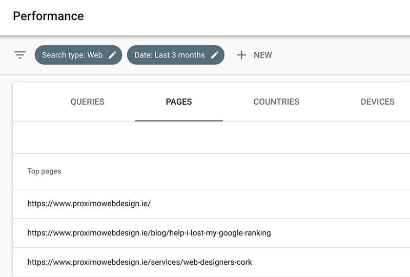 Top pages in Google Search Console